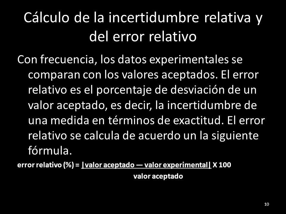 Cálculo de la incertidumbre relativa y del error relativo Con frecuencia, los datos experimentales se comparan con los valores aceptados. El error rel