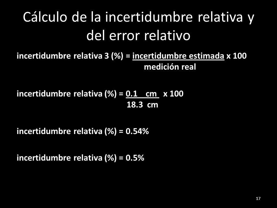 Cálculo de la incertidumbre relativa y del error relativo incertidumbre relativa 3 (%) = incertidumbre estimada x 100 medición real incertidumbre rela