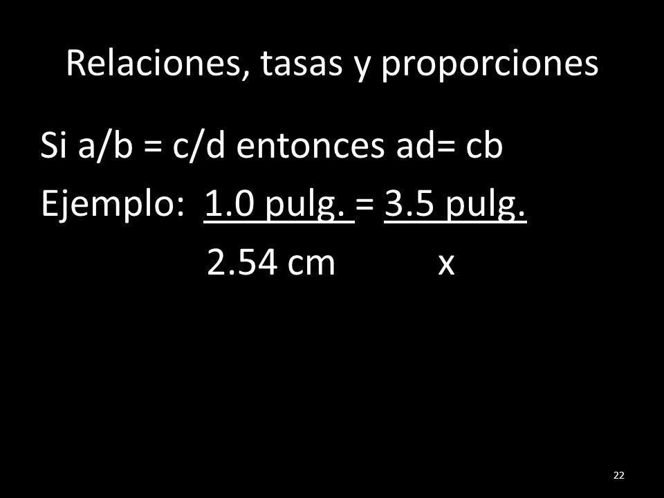 Relaciones, tasas y proporciones Si a/b = c/d entonces ad= cb Ejemplo: 1.0 pulg. = 3.5 pulg. 2.54 cm x 22