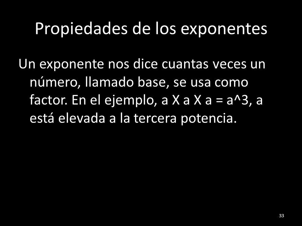 Propiedades de los exponentes Un exponente nos dice cuantas veces un número, llamado base, se usa como factor. En el ejemplo, a X a X a = a^3, a está