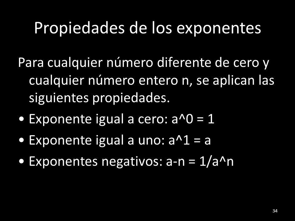Propiedades de los exponentes Para cualquier número diferente de cero y cualquier número entero n, se aplican las siguientes propiedades. Exponente ig