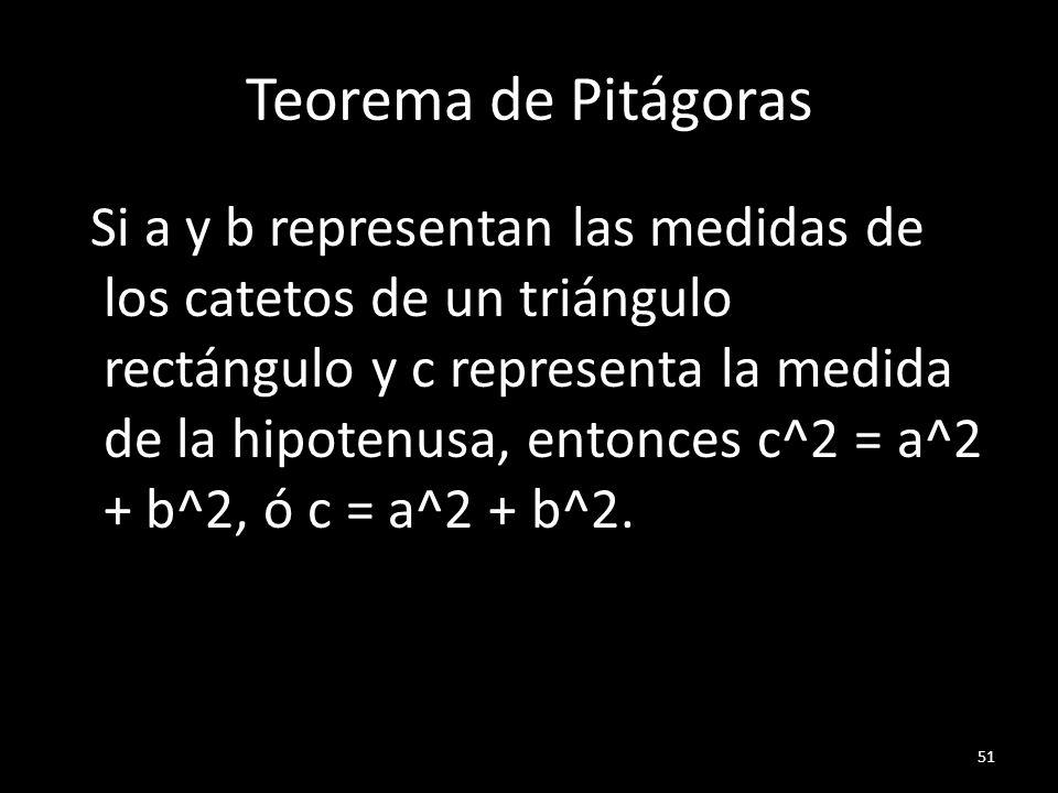 Teorema de Pitágoras Si a y b representan las medidas de los catetos de un triángulo rectángulo y c representa la medida de la hipotenusa, entonces c^