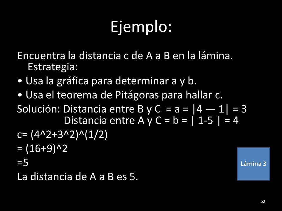 Ejemplo: Encuentra la distancia c de A a B en la lámina. Estrategia: Usa la gráfica para determinar a y b. Usa el teorema de Pitágoras para hallar c.