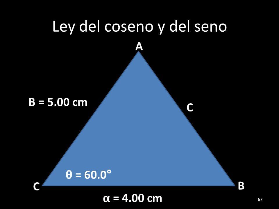 Ley del coseno y del seno 67 C C B A B = 5.00 cm α = 4.00 cm θ = 60.0°