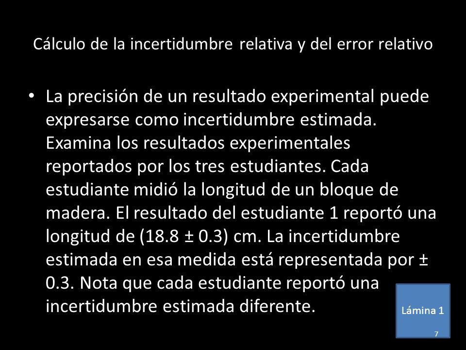 Cálculo de la incertidumbre relativa y del error relativo La precisión de un resultado experimental puede expresarse como incertidumbre estimada. Exam