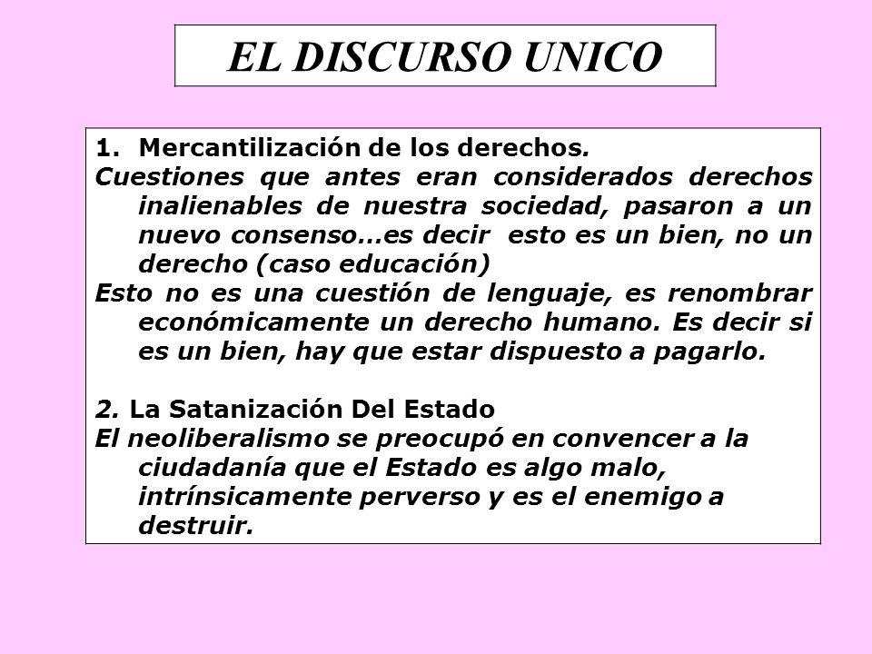 EL DISCURSO UNICO 1.Mercantilización de los derechos. Cuestiones que antes eran considerados derechos inalienables de nuestra sociedad, pasaron a un n