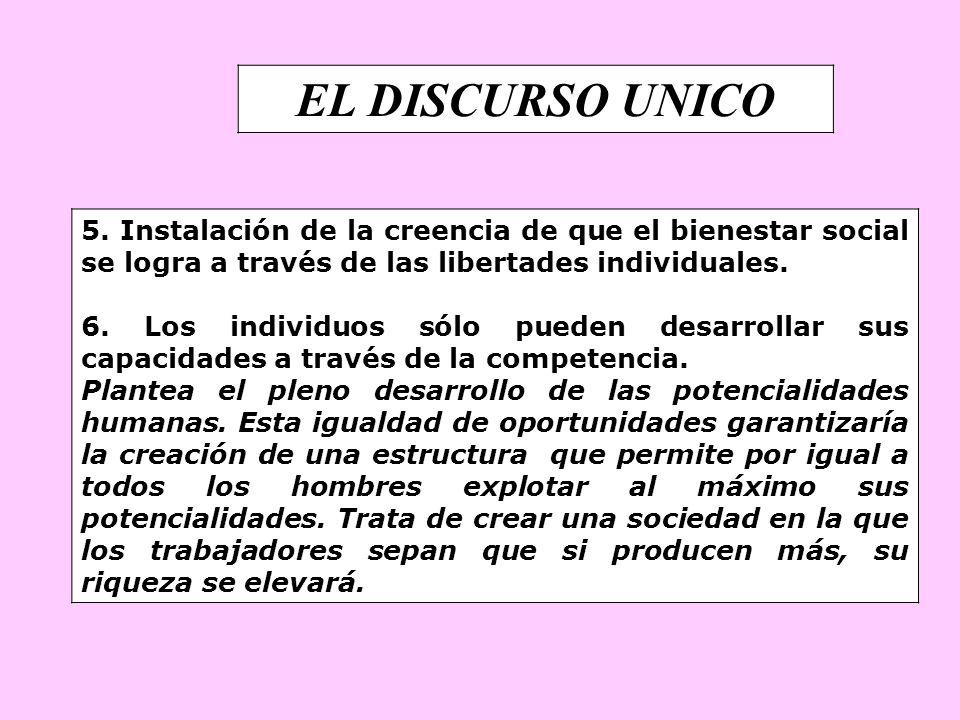 EL DISCURSO UNICO 5. Instalación de la creencia de que el bienestar social se logra a través de las libertades individuales. 6. Los individuos sólo pu