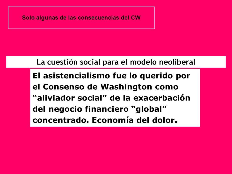 El asistencialismo fue lo querido por el Consenso de Washington como aliviador social de la exacerbación del negocio financiero global concentrado. Ec