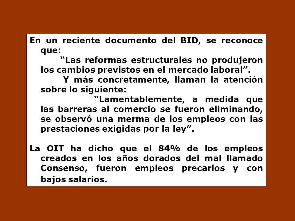 En un reciente documento del BID, se reconoce que: Las reformas estructurales no produjeron los cambios previstos en el mercado laboral. Y más concret