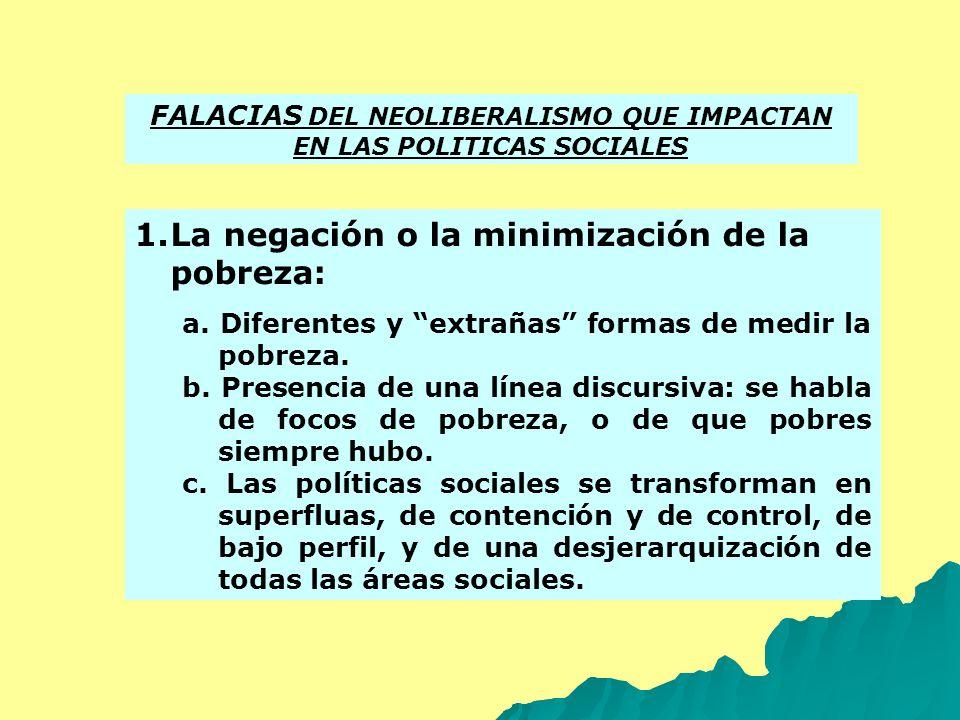 FALACIAS DEL NEOLIBERALISMO QUE IMPACTAN EN LAS POLITICAS SOCIALES 1.La negación o la minimización de la pobreza: a. Diferentes y extrañas formas de m
