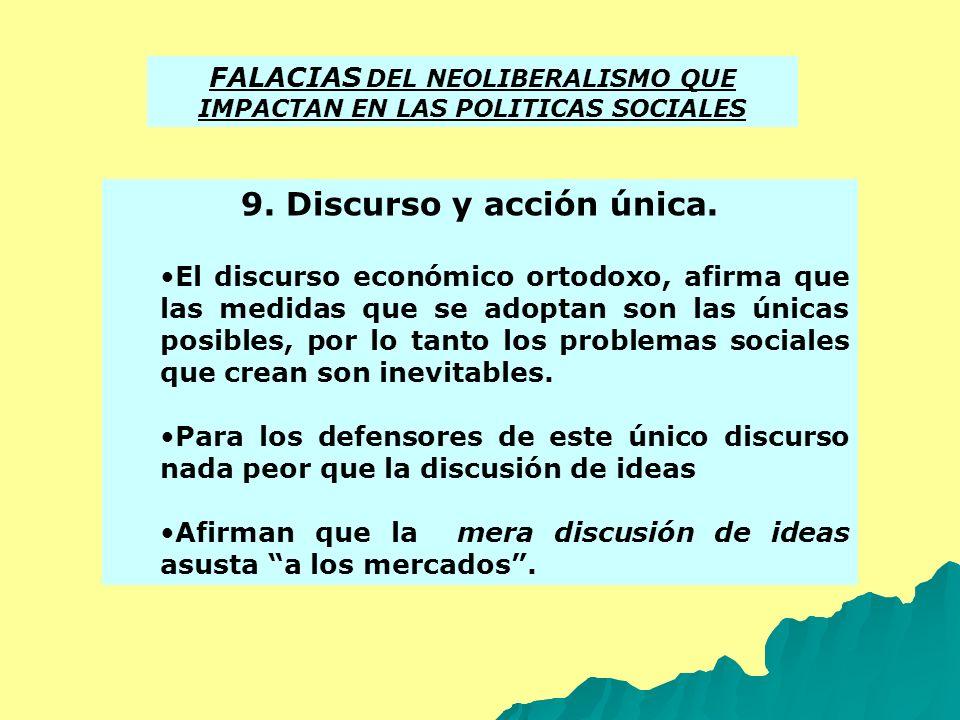 FALACIAS DEL NEOLIBERALISMO QUE IMPACTAN EN LAS POLITICAS SOCIALES 9. Discurso y acción única. El discurso económico ortodoxo, afirma que las medidas