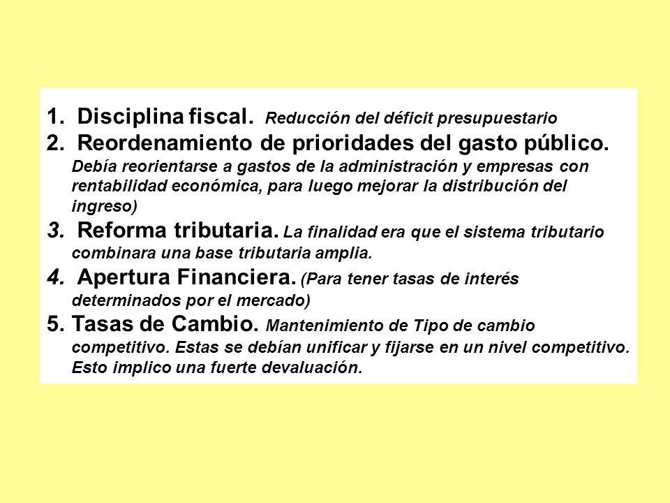 1. Disciplina fiscal. Reducción del déficit presupuestario 2. Reordenamiento de prioridades del gasto público. Debía reorientarse a gastos de la admin