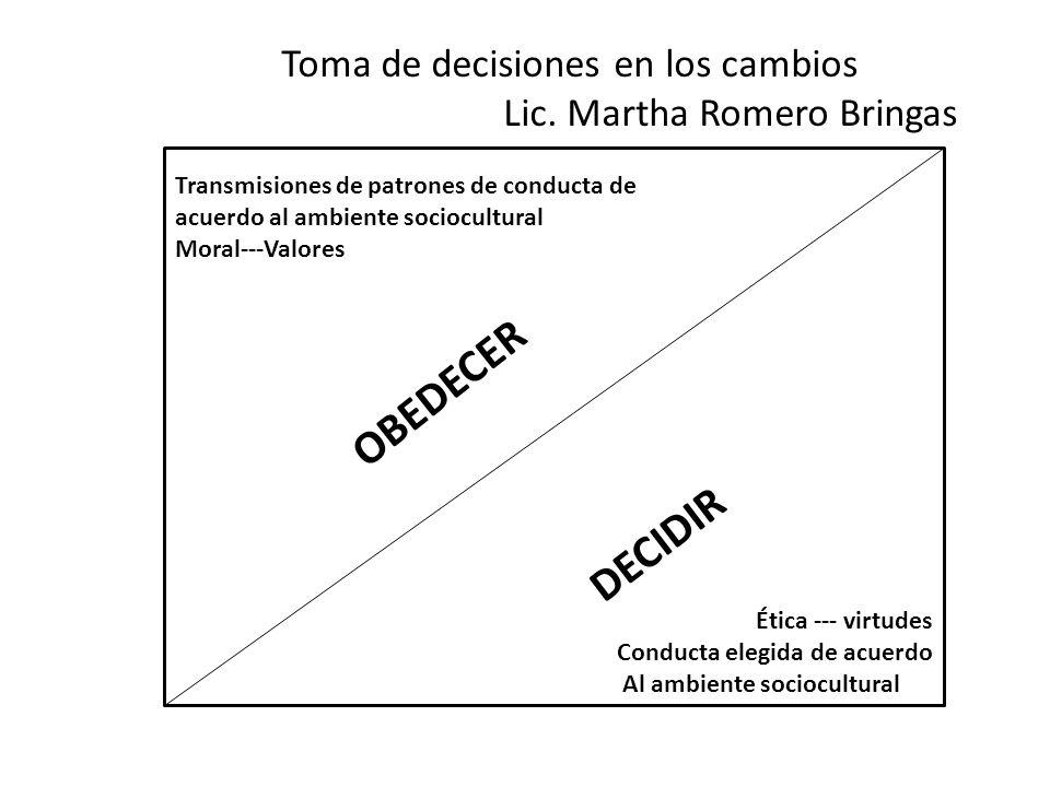 Toma de decisiones en los cambios Lic. Martha Romero Bringas Transmisiones de patrones de conducta de acuerdo al ambiente sociocultural Moral---Valore