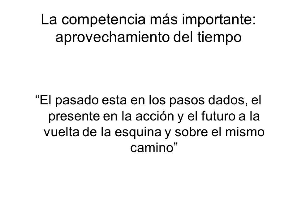 La competencia más importante: aprovechamiento del tiempo El pasado esta en los pasos dados, el presente en la acción y el futuro a la vuelta de la es