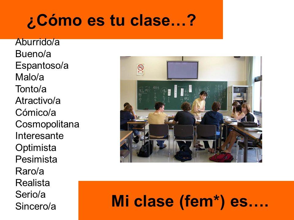 ¿Cómo es tu clase…. Mi clase (fem*) es….