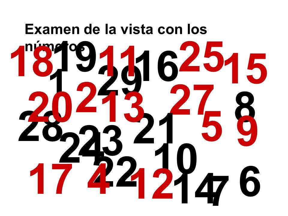 Examen de la vista con los números 1 29 10 28 19 23 25 24 27 22 21 20 15 17 16 13 18 12 5 11 2 8 9 4 14 7 6