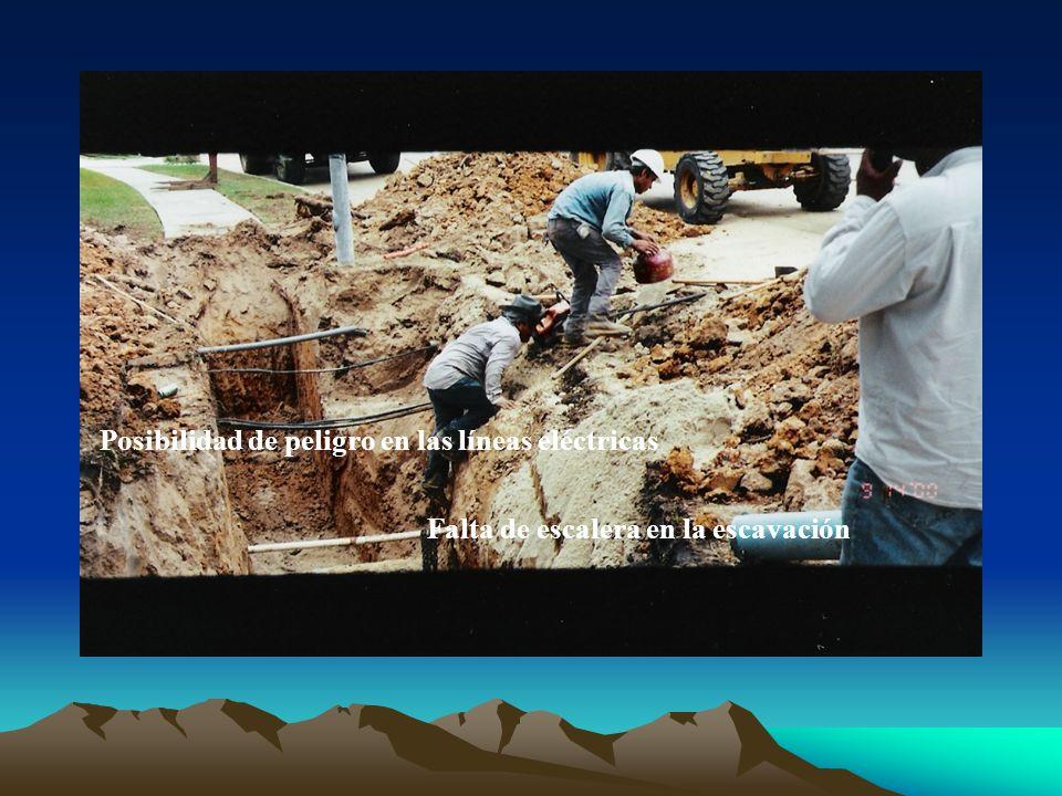 Posibilidad de peligro en las líneas eléctricas Falta de escalera en la escavación
