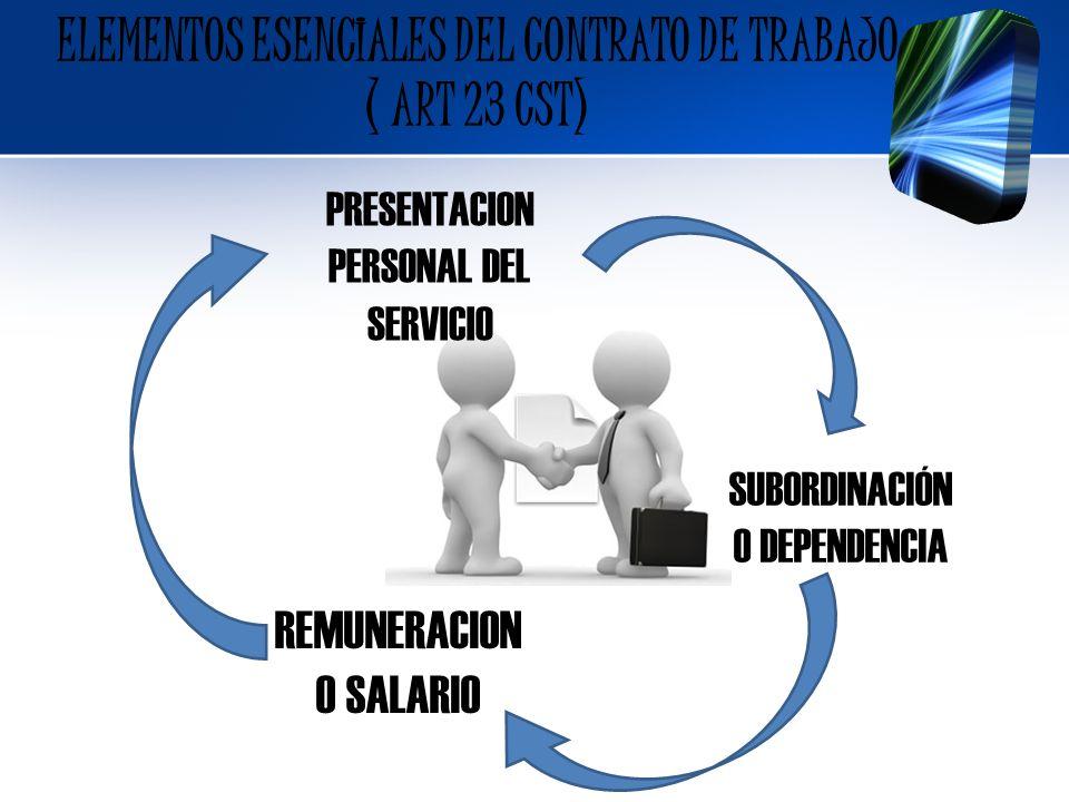 ELEMENTOS ESENCIALES DEL CONTRATO DE TRABAJO ( ART 23 CST) PRESENTACION PERSONAL DEL SERVICIO SUBORDINACIÓN O DEPENDENCIA REMUNERACION O SALARIO