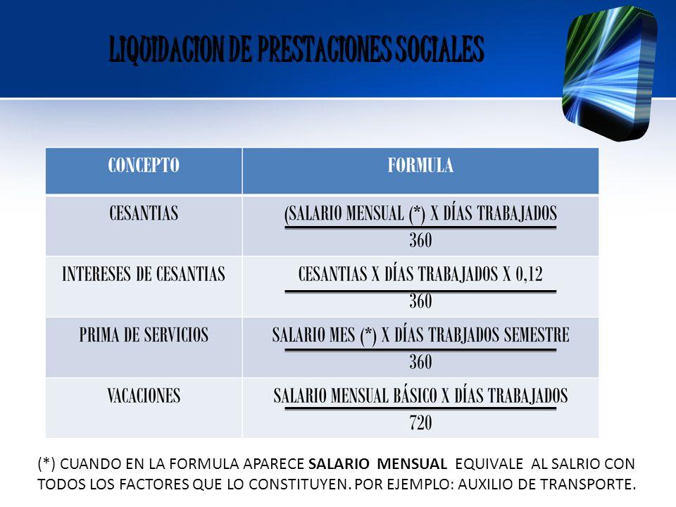 LIQUIDACION DE PRESTACIONES SOCIALES LIQUIDACION DE PRESTACIONES SOCIALES (*) CUANDO EN LA FORMULA APARECE SALARIO MENSUAL EQUIVALE AL SALRIO CON TODO