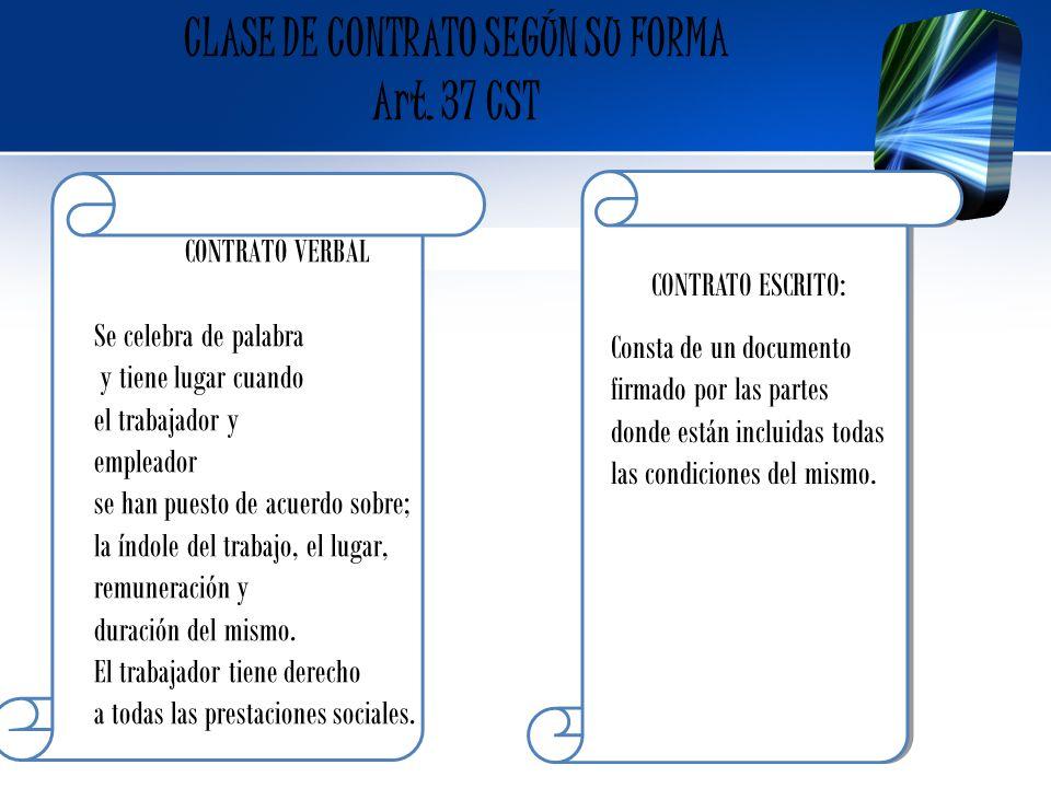 CLASE DE CONTRATO SEGÚN SU FORMA Art. 37 CST CONTRATO ESCRITO: Consta de un documento firmado por las partes donde están incluidas todas las condicion
