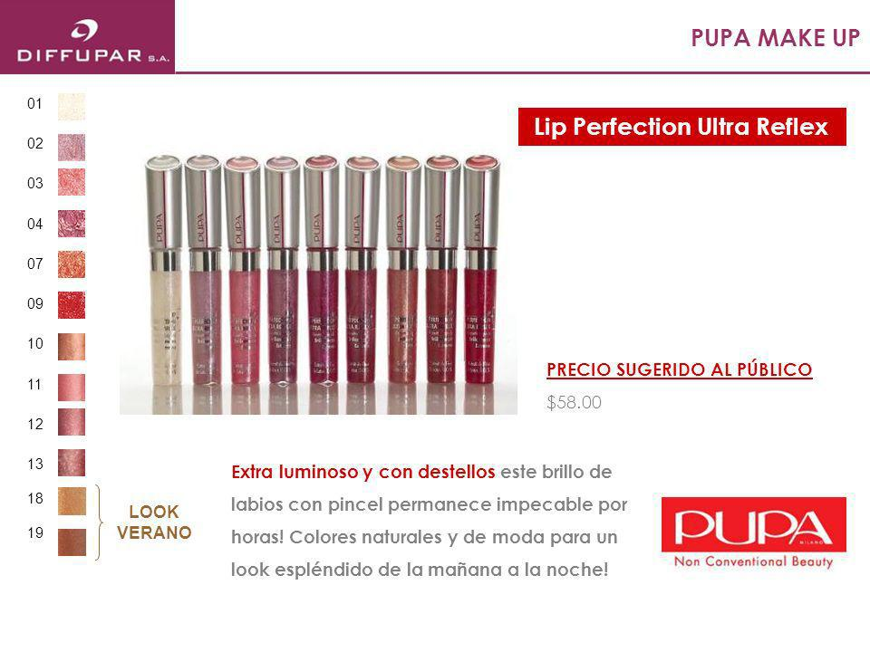 PUPA MAKE UP Brillo labial con color y un tentador sabor a chocolate que se desliza suavemente, fundiéndose en los labios para un acabado luminoso y delicado.