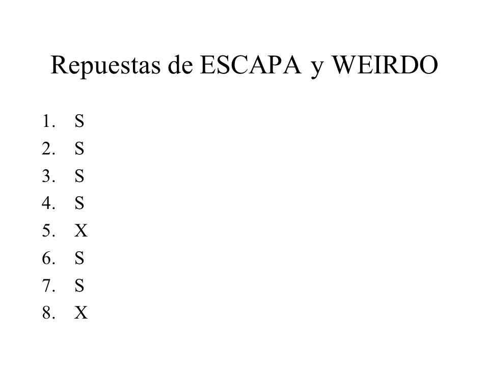 Repuestas de ESCAPA y WEIRDO 1.S 2.S 3.S 4.S 5.X 6.S 7.S 8.X