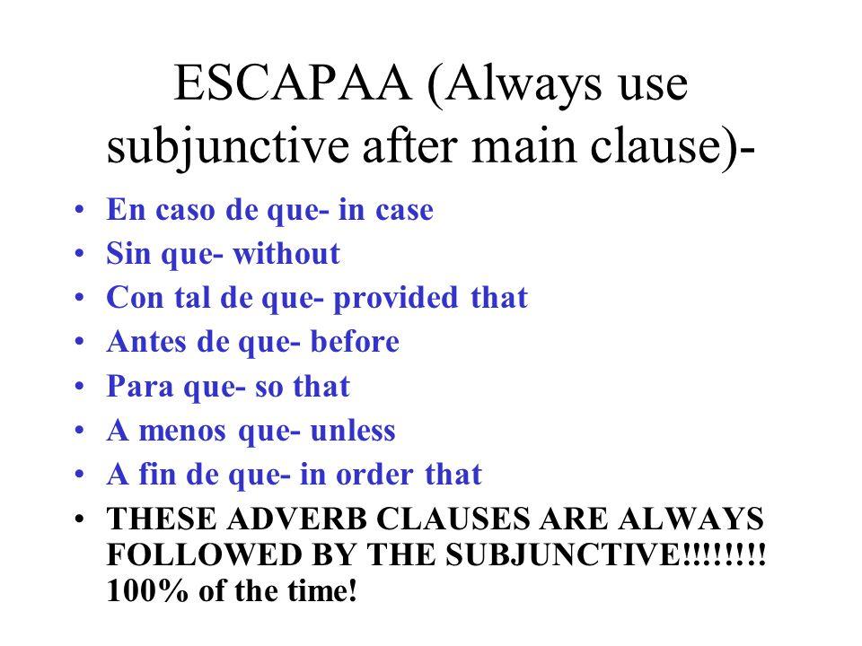 ESCAPAA (Always use subjunctive after main clause)- En caso de que- in case Sin que- without Con tal de que- provided that Antes de que- before Para q