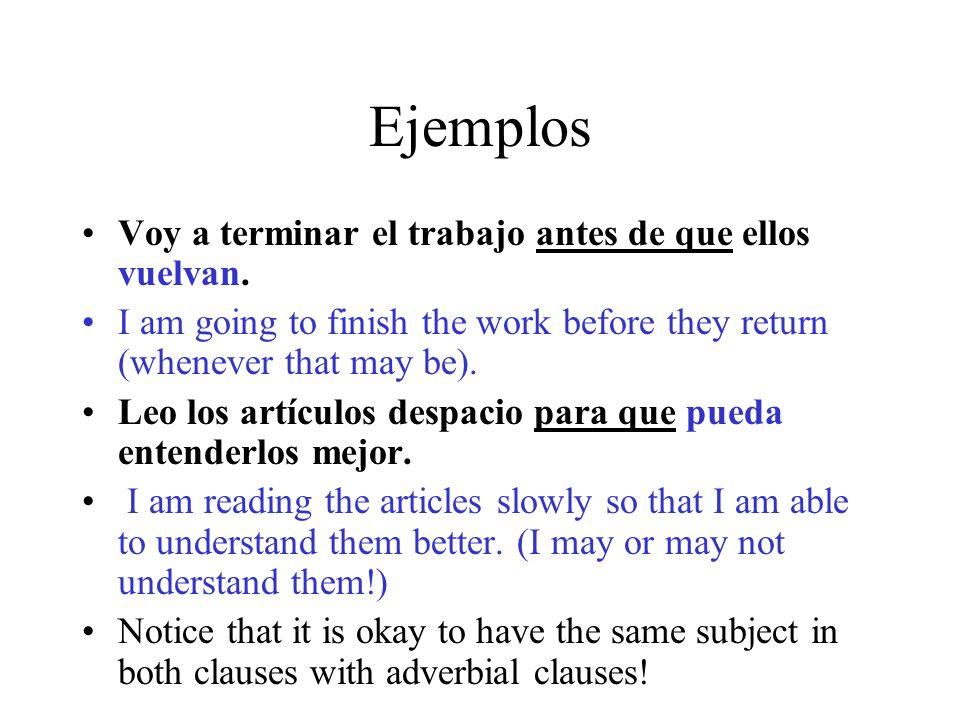 Ejemplos Voy a terminar el trabajo antes de que ellos vuelvan. I am going to finish the work before they return (whenever that may be). Leo los artícu