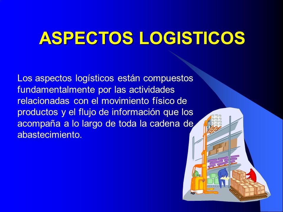Los aspectos logísticos están compuestos fundamentalmente por las actividades relacionadas con el movimiento físico de productos y el flujo de informa
