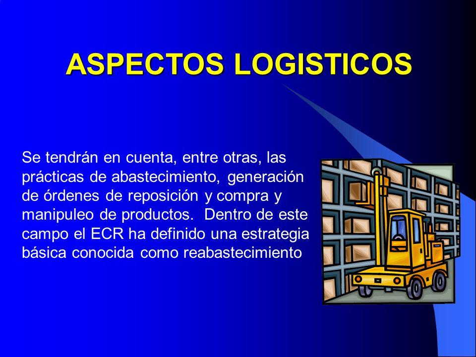 Se tendrán en cuenta, entre otras, las prácticas de abastecimiento, generación de órdenes de reposición y compra y manipuleo de productos. Dentro de e