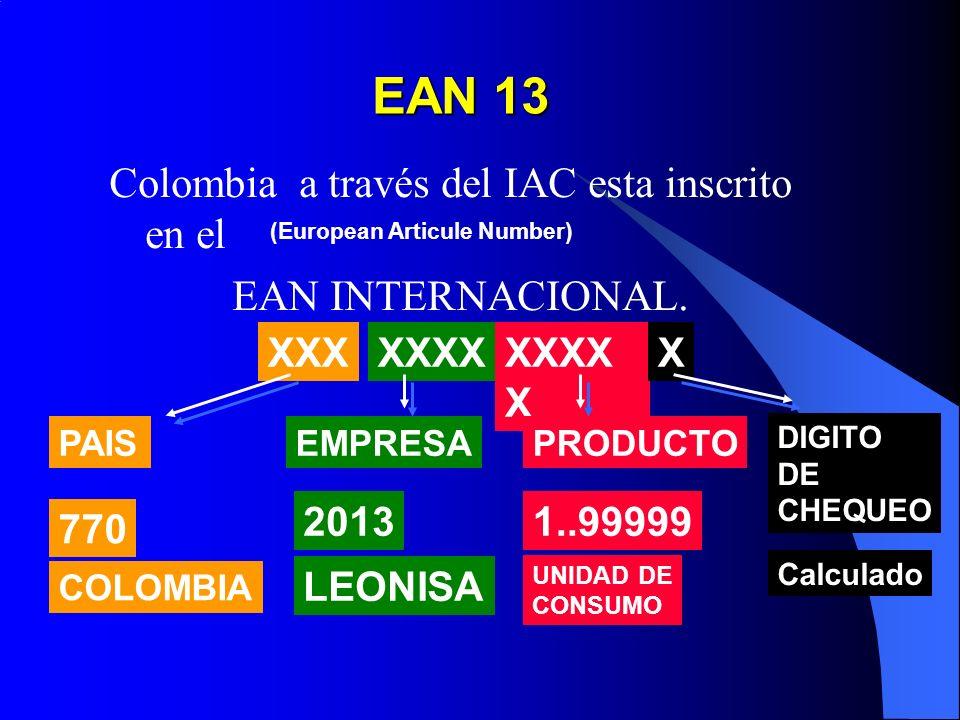 EAN 13 Colombia a través del IAC esta inscrito en el EAN INTERNACIONAL. (European Articule Number) XXXXXXXX X X PAISEMPRESA DIGITO DE CHEQUEO PRODUCTO