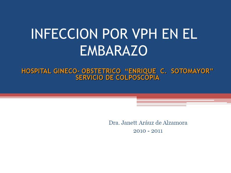INFECCION POR VPH EN EL EMBARAZO Dra. Janett Aráuz de Alzamora 2010 - 2011 HOSPITAL GINECO- OBSTETRICO ENRIQUE C. SOTOMAYOR SERVICIO DE COLPOSCOPIA