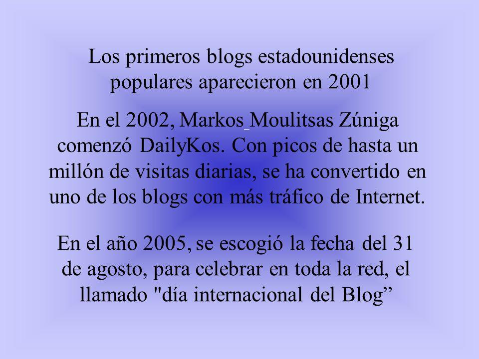 Los primeros blogs estadounidenses populares aparecieron en 2001 En el 2002, Markos Moulitsas Zúniga comenzó DailyKos. Con picos de hasta un millón de