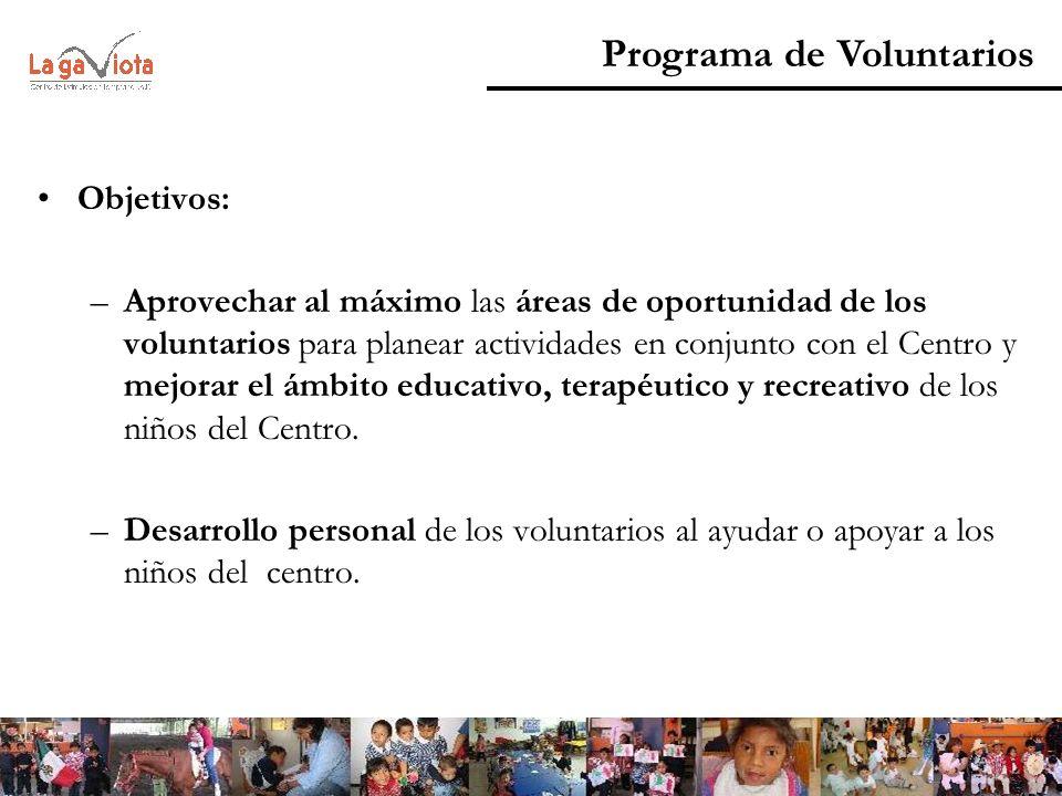 Objetivos: –Aprovechar al máximo las áreas de oportunidad de los voluntarios para planear actividades en conjunto con el Centro y mejorar el ámbito ed