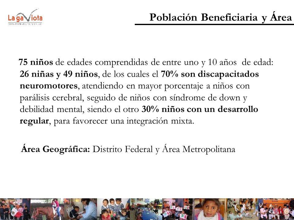 Población Beneficiaria y Área 75 niños de edades comprendidas de entre uno y 10 años de edad: 26 niñas y 49 niños, de los cuales el 70% son discapacit