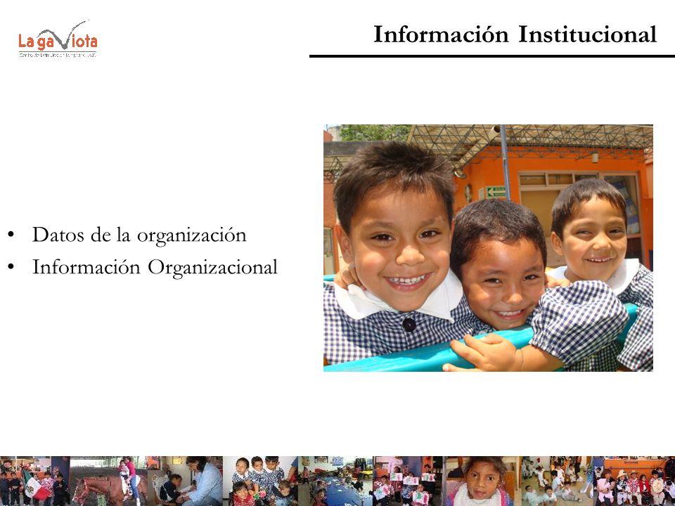 Datos de la organización Información Organizacional Información Institucional