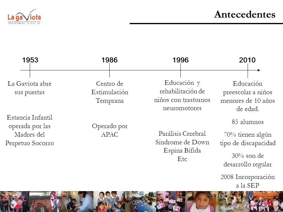 Antecedentes 1953 198619962010 La Gaviota abre sus puertas Estancia Infantil operada por las Madres del Perpetuo Socorro Centro de Estimulación Tempra