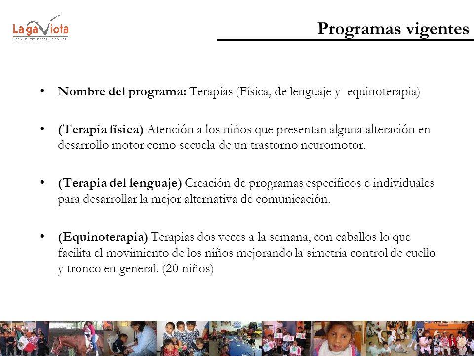 Programas vigentes Nombre del programa: Terapias (Física, de lenguaje y equinoterapia) (Terapia física) Atención a los niños que presentan alguna alte