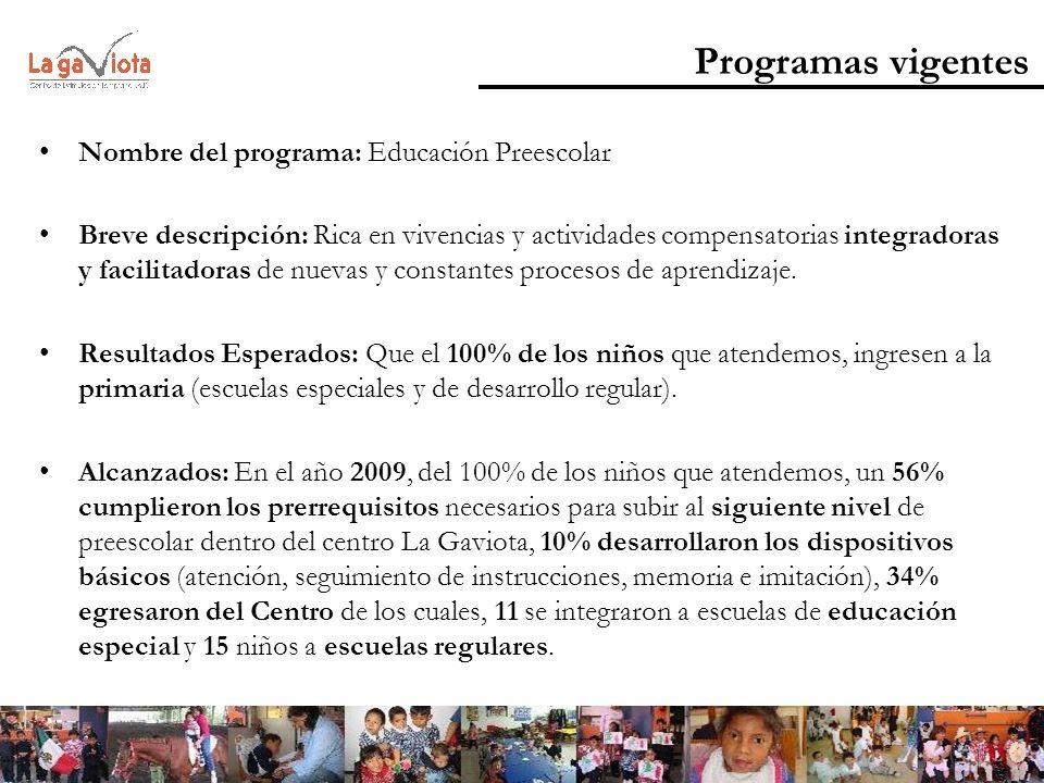 Programas vigentes Nombre del programa: Educación Preescolar Breve descripción: Rica en vivencias y actividades compensatorias integradoras y facilita