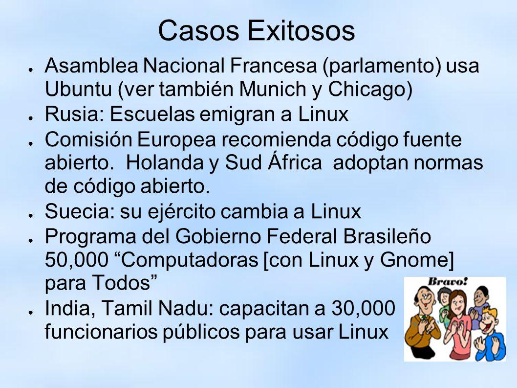 Casos Exitosos Asamblea Nacional Francesa (parlamento) usa Ubuntu (ver también Munich y Chicago) Rusia: Escuelas emigran a Linux Comisión Europea reco