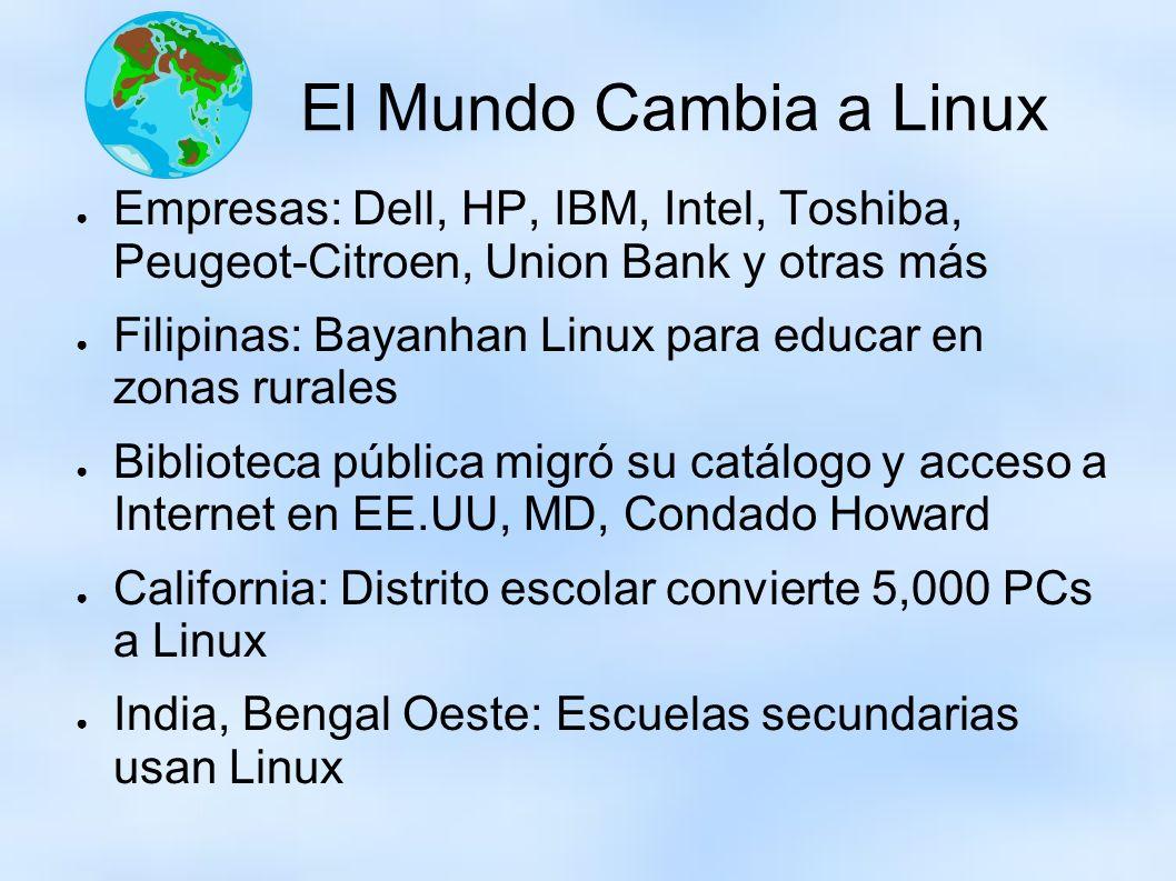 El Mundo Cambia a Linux Empresas: Dell, HP, IBM, Intel, Toshiba, Peugeot-Citroen, Union Bank y otras más Filipinas: Bayanhan Linux para educar en zona