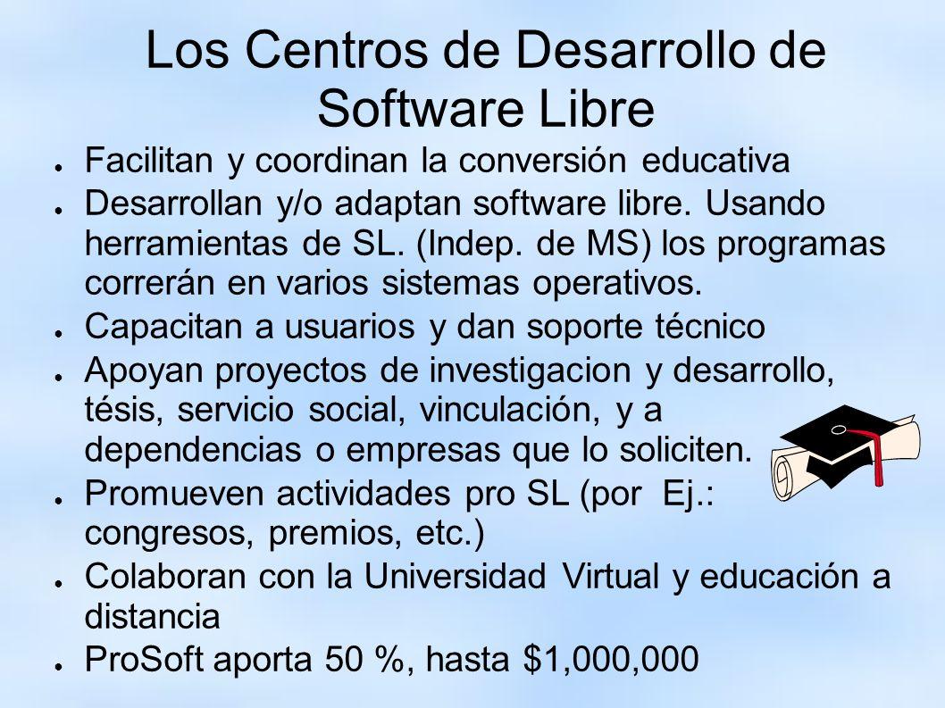 Los Centros de Desarrollo de Software Libre Facilitan y coordinan la conversión educativa Desarrollan y/o adaptan software libre. Usando herramientas