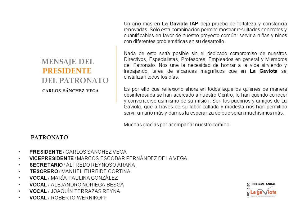 MENSAJE DEL PRESIDENTE DEL PATRONATO CARLOS SÁNCHEZ VEGA PATRONATO PRESIDENTE / CARLOS SÁNCHEZ VEGA VICEPRESIDENTE / MARCOS ESCOBAR FERNÁNDEZ DE LA VE