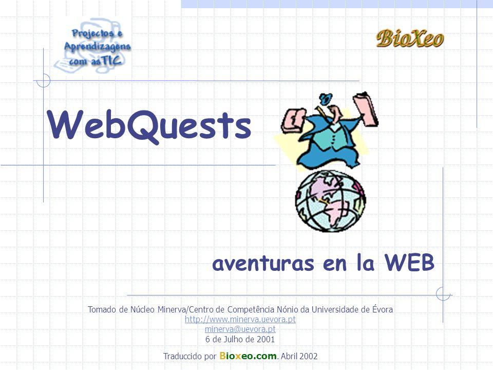 WebQuests aventuras en la WEB Tomado de Núcleo Minerva/Centro de Competência Nónio da Universidade de Évora http://www.minerva.uevora.pt minerva@uevor