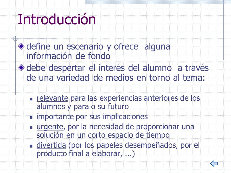 Introducción define un escenario y ofrece alguna información de fondo debe despertar el interés del alumno a través de una variedad de medios en torno
