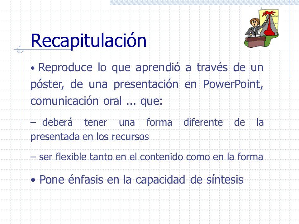 Reproduce lo que aprendió a través de un póster, de una presentación en PowerPoint, comunicación oral... que: – deberá tener una forma diferente de la