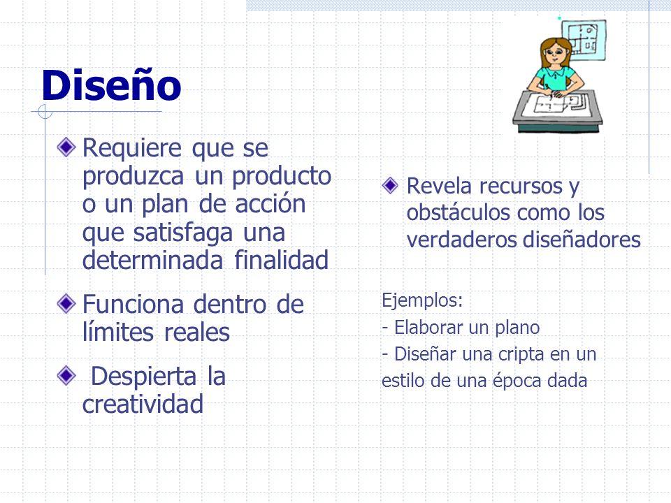 Diseño Requiere que se produzca un producto o un plan de acción que satisfaga una determinada finalidad Funciona dentro de límites reales Despierta la
