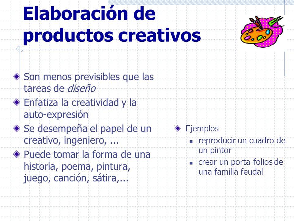 Elaboración de productos creativos Son menos previsibles que las tareas de diseño Enfatiza la creatividad y la auto-expresión Se desempeña el papel de