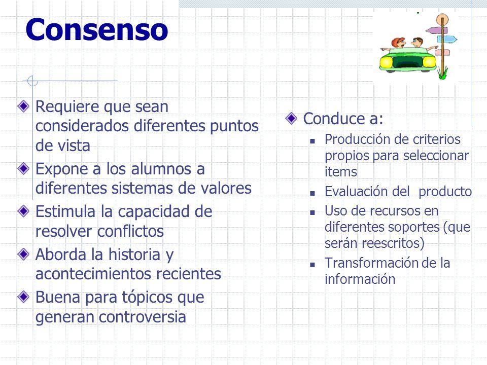 Consenso Requiere que sean considerados diferentes puntos de vista Expone a los alumnos a diferentes sistemas de valores Estimula la capacidad de reso
