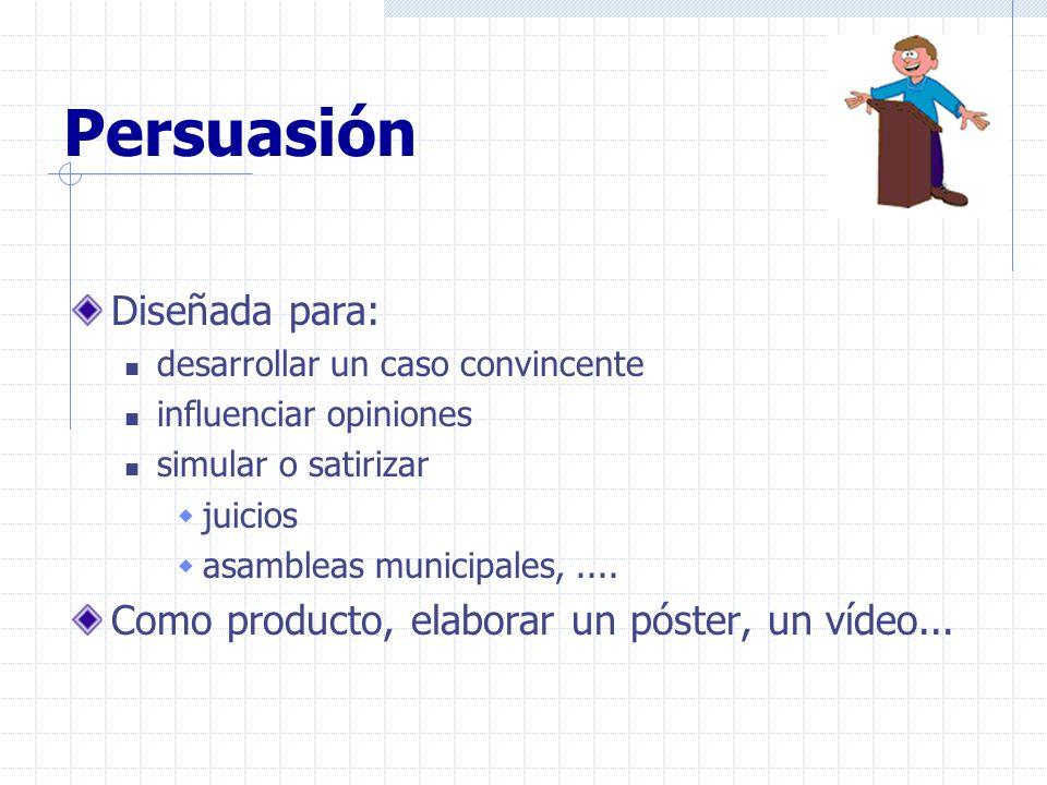 Persuasión Diseñada para: desarrollar un caso convincente influenciar opiniones simular o satirizar juicios asambleas municipales,.... Como producto,